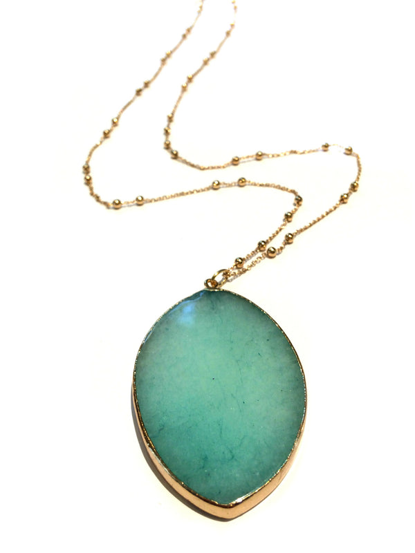 Long Amazonite Necklace | Fashion Gold Costume | Light Years Jewelry