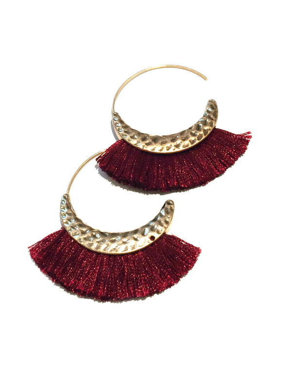 Fringe Hoops | Matte Gold Fashion Earrings | Light Years Jewelry