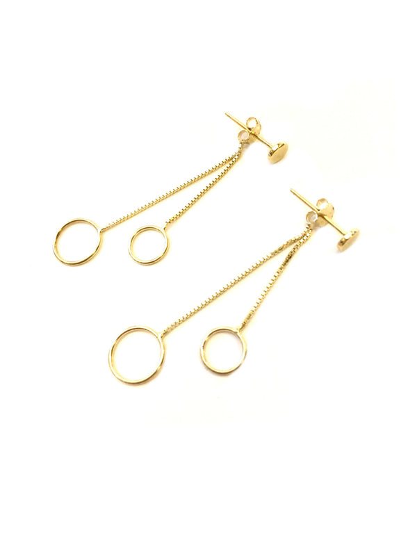 Circle Post Dangle Earrings | Gold Vermeil | Light Years Jewelry