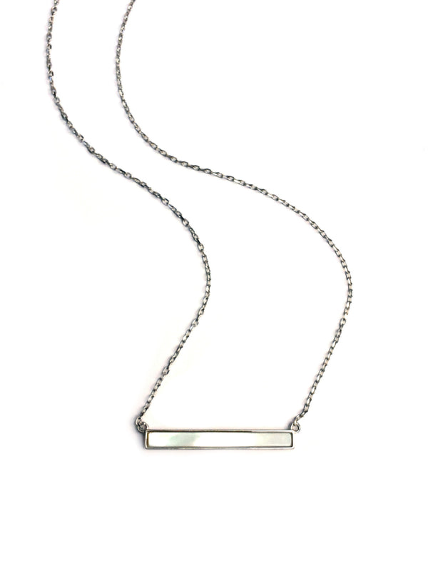 Mother of Pearl Bar Necklace | Sterling Silver Gold Vermeil | Light Years