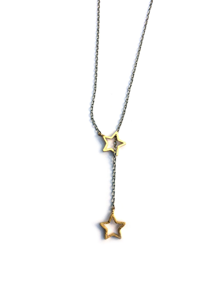 Gold Star Lariat Necklace | Silver Plated Chain | Light Years Jewelry
