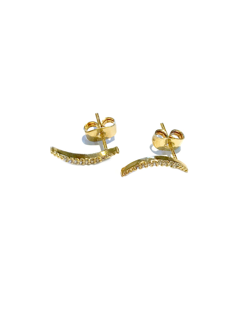 Clear CZ Lined Curved Posts | Gold Plated Studs Earrings | Light Years