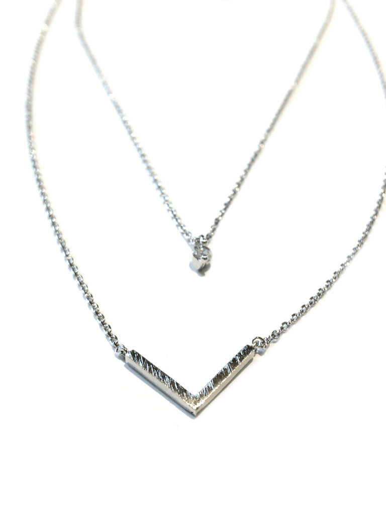 Layered Chevron & CZ Necklace | Silver Plated | Light Years Jewelry