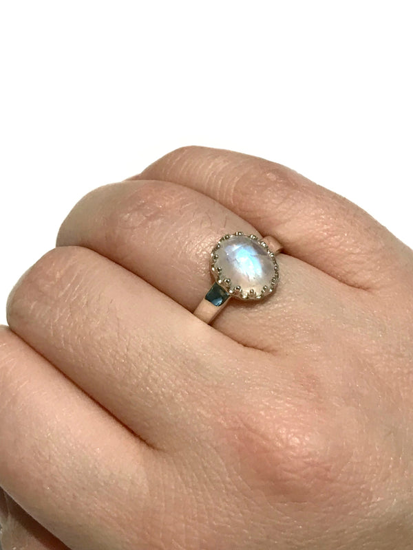 Crown Moonstone Ring | Size 5 6 Sterling Silver | Light Years Jewelry
