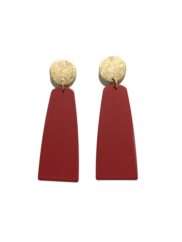 Disc & Bar Statement Post Earrings | Matte Gold Fashion | Light Years