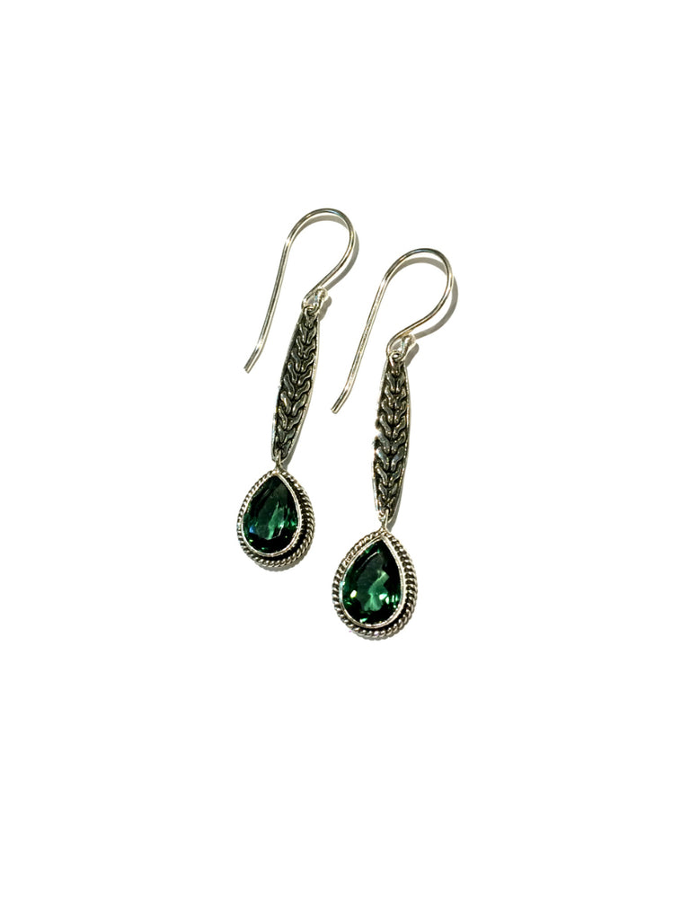 Gemstone Leaf Dangle Earrings | Blue Topaz Green Quartz | Light Years