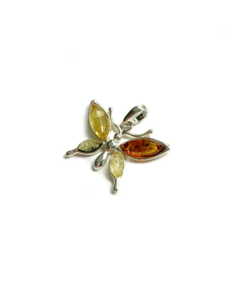 Amber Butterfly Necklace | Sterling Silver Chain Pendant | Light Years