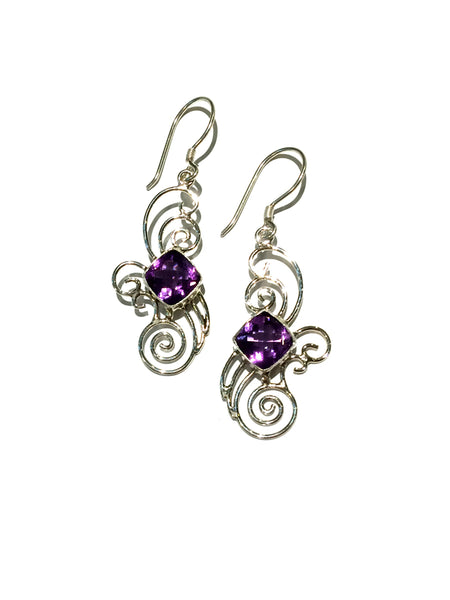 Amethyst Swirl Dangle Earrings | Sterling Silver | Light Years Jewelry