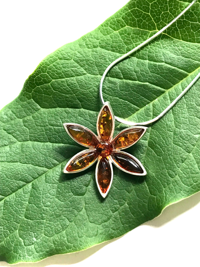 Amber Flower Necklace | Sterling Silver Chain Pendant | Light Years