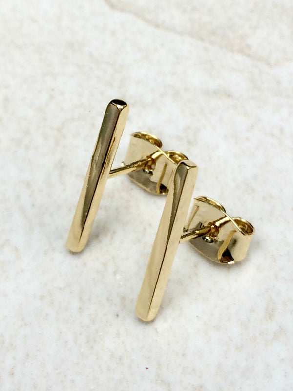 Sleek Bar Posts | Silver Gold Plated Studs Earrings | Light Years