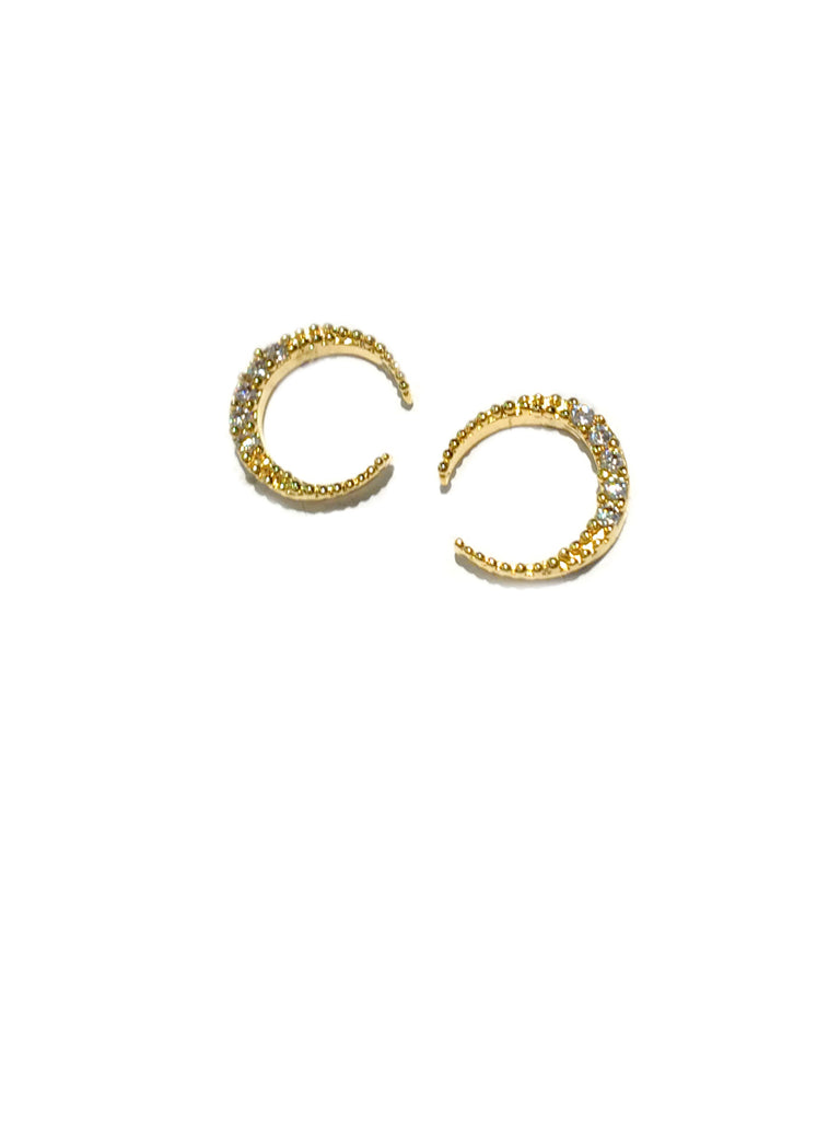 CZ Crescent Moon Posts | Gold Plated Earrings | Light Years Jewelry