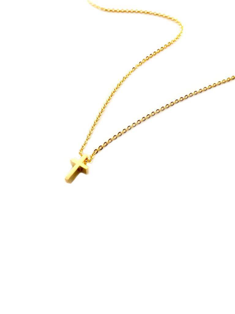 Small Golden Cross Necklace | Gold Plated Chain Pendant | Light Years