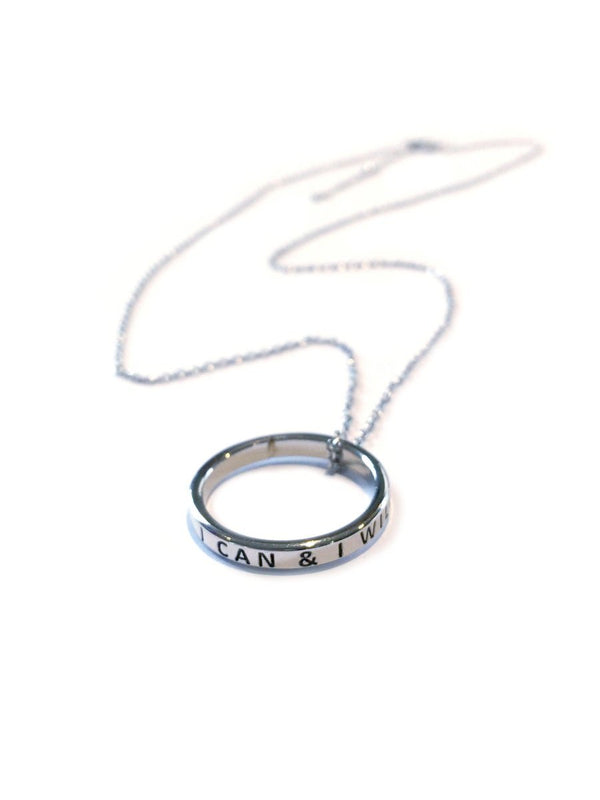 I Can and I Will Motivational Necklace | White Gold Plated | Light Years