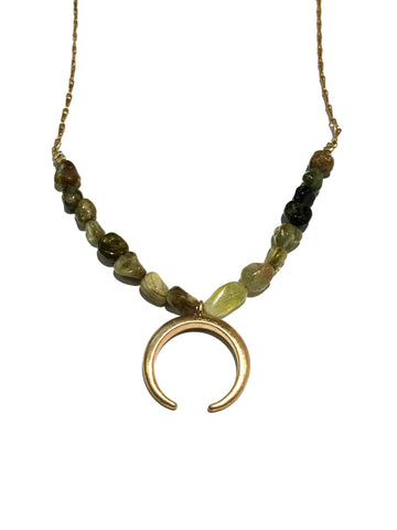 Stone & Crescent Choker | Green Brown Gold Fashion Necklace | Light Years