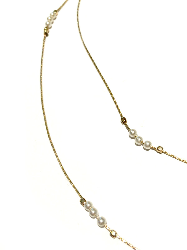 Layered White Pearl Necklace | Gold Fashion Chain | Light Years Jewelry