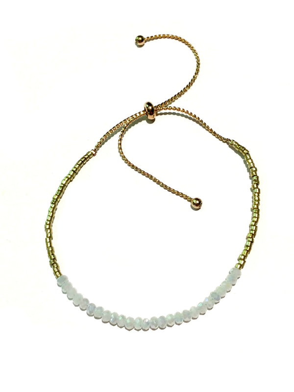 Beaded Pull Bracelets | White, Blue, Gray Gold | Light Years Jewelry