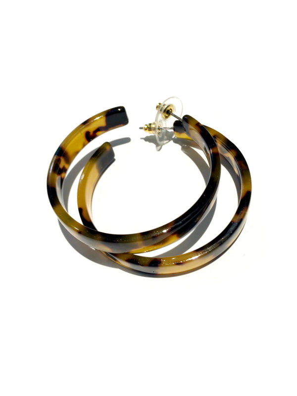 Flat Tortoiseshell Hoops | Large Acrylic Trendy Earrings | Light Years