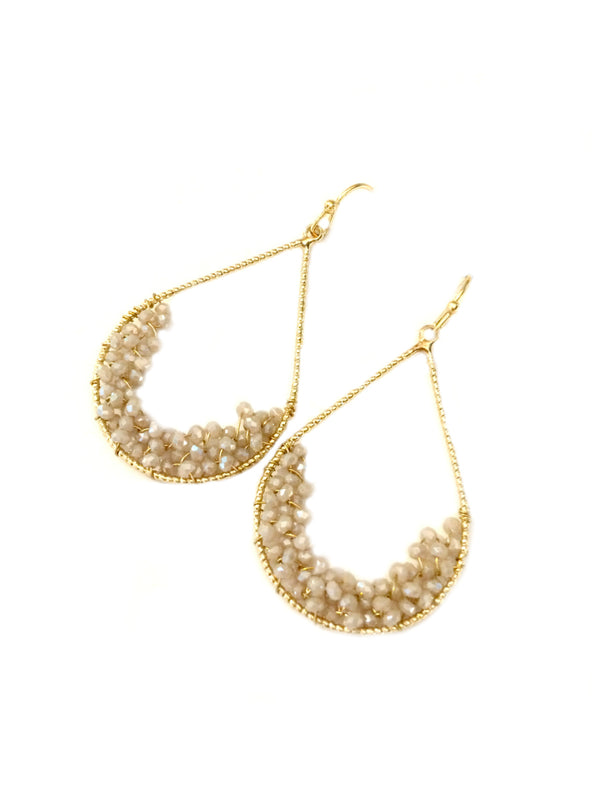 Beaded Crystal Teardrop Dangles | Gold Fashion Earrings | Light Years