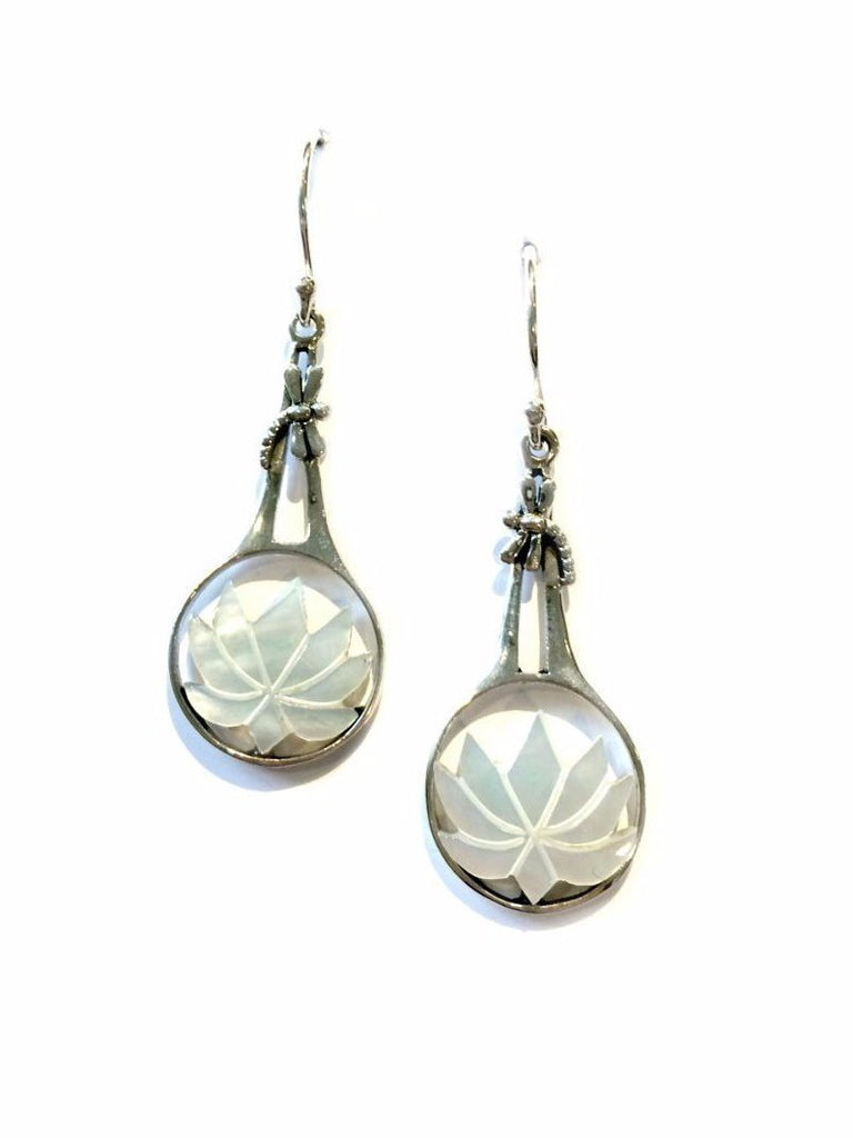Mother of Pearl Lotus Dangles | Handmade Sterling Silver | Light Years