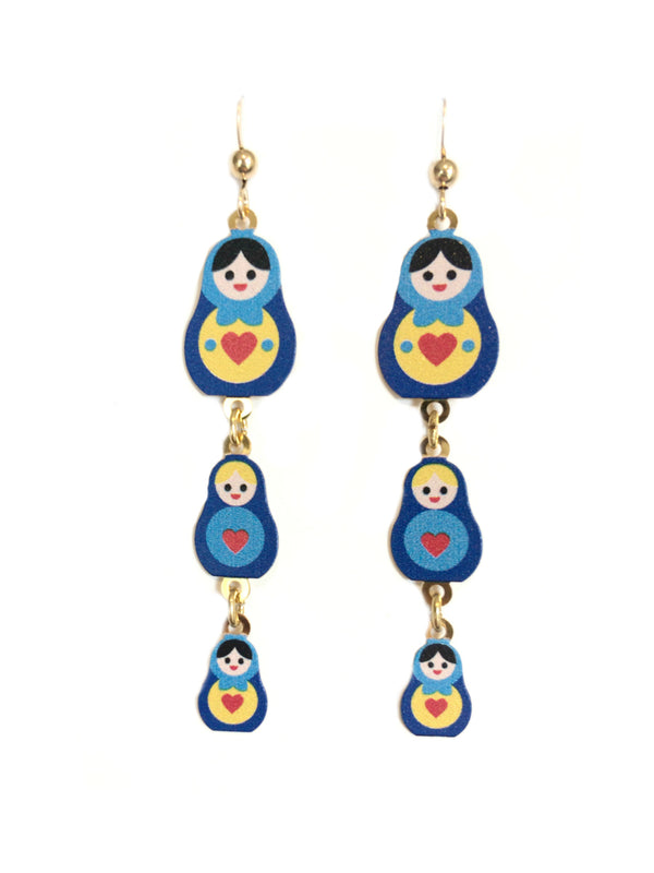 Nesting Doll Dangles Sienna Sky | 14kt Gold Fill Earrings | Light Years