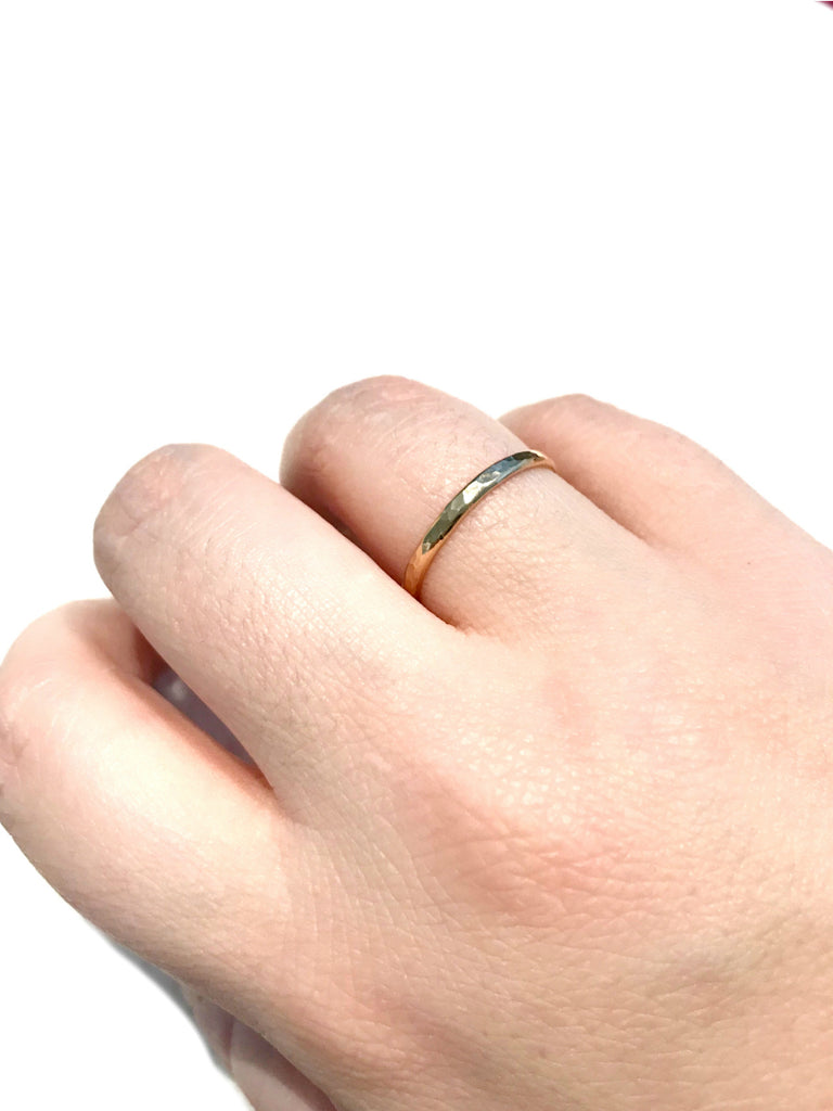 Thick Hammered Band | Gold Filled Rings Size 5 6 7 8 9 10 | Light Years