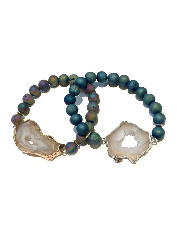 Geode Stretch Bracelet | Natural Druzy Stones | Light Years Jewelry
