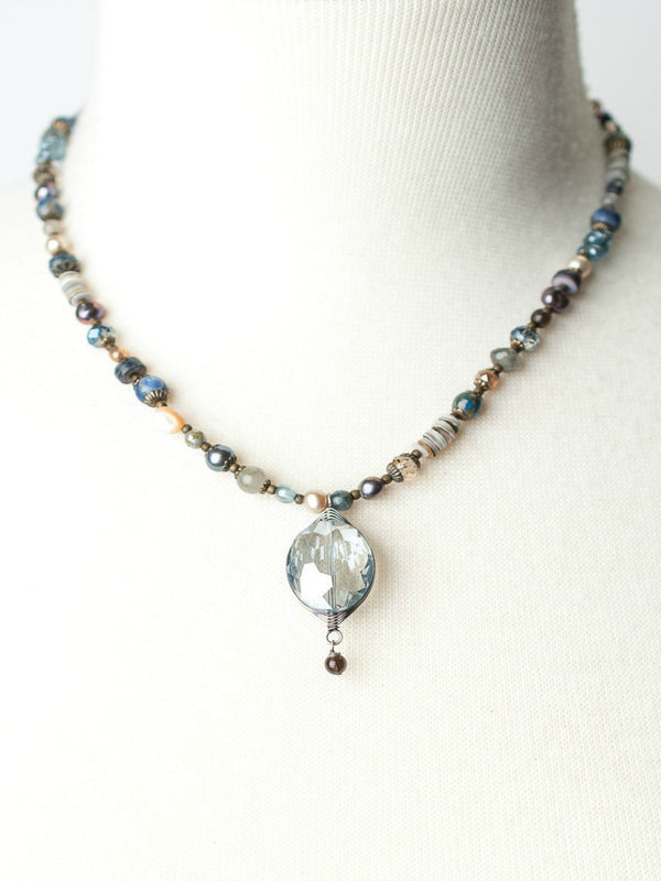 Claridad Crystal Pendant Beaded Necklace | Handmade USA | Light Years