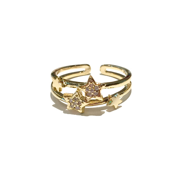 Sparkling Stars Ring | Size 6 Adjustable CZ Gold Fashion | Light Years