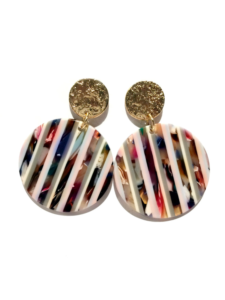 Striped Statement Earrings | Gold Fashion Posts | Light Years Jewelry