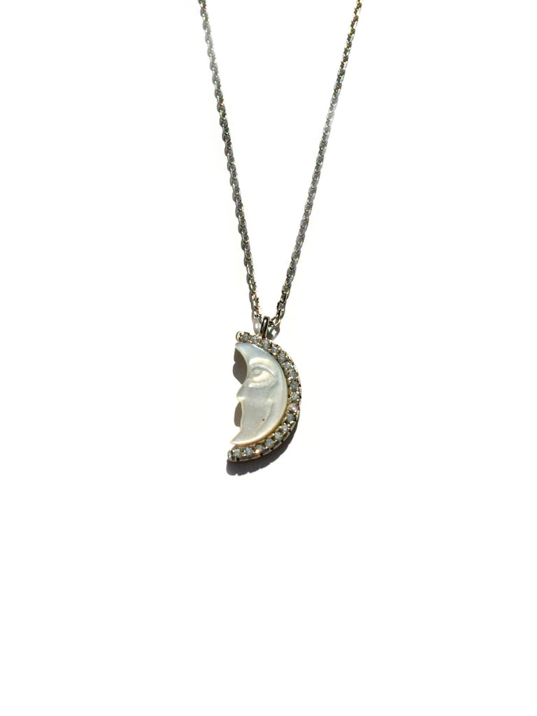 Carved Crescent Moon Necklace | Sterling Silver Rose Gold Vermeil | Light Years