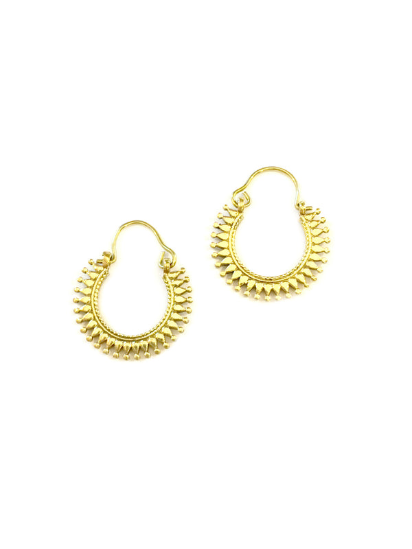 Spiky Brass Hoops | Handmade Tribal Earrings | Light Years Jewelry