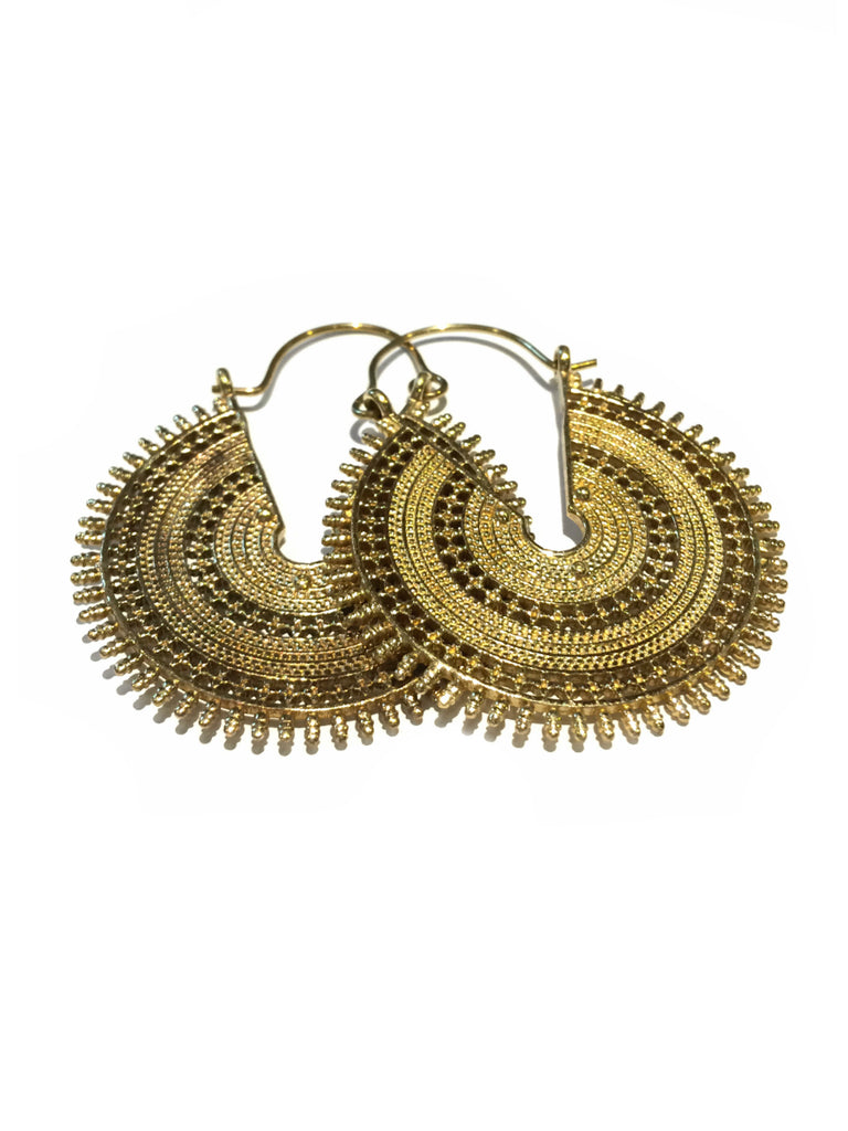 Detailed Brass Hoop Earrings | Light Years Jewelry