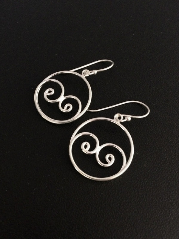 Curling Wave Dangles | Sterling Silver Earrings | Light Years Jewelry