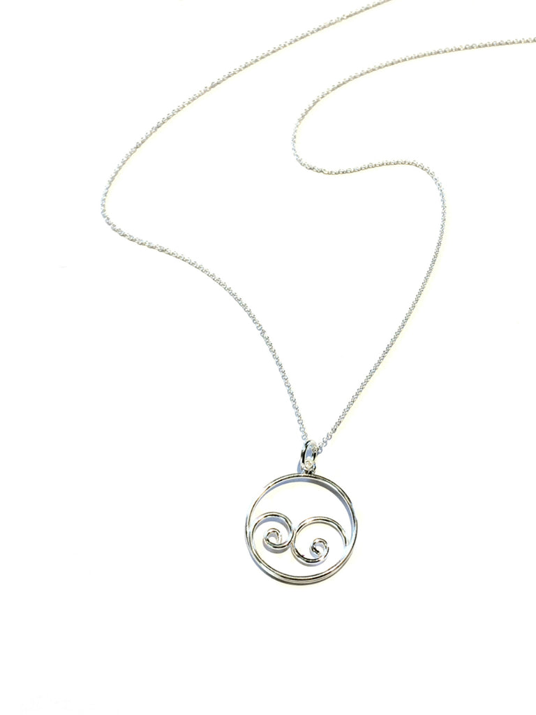 Curling Wave Swirl Necklace | Sterling Silver Chain Pendant | Light Years