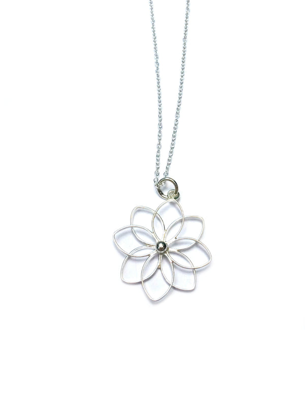 Open Flower Necklace | Sterling Silver Pendant Chain | Light Years