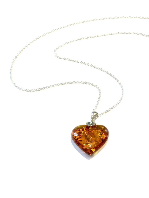 Carved Amber Heart Necklace | Sterling Silver Baltic | Light Years