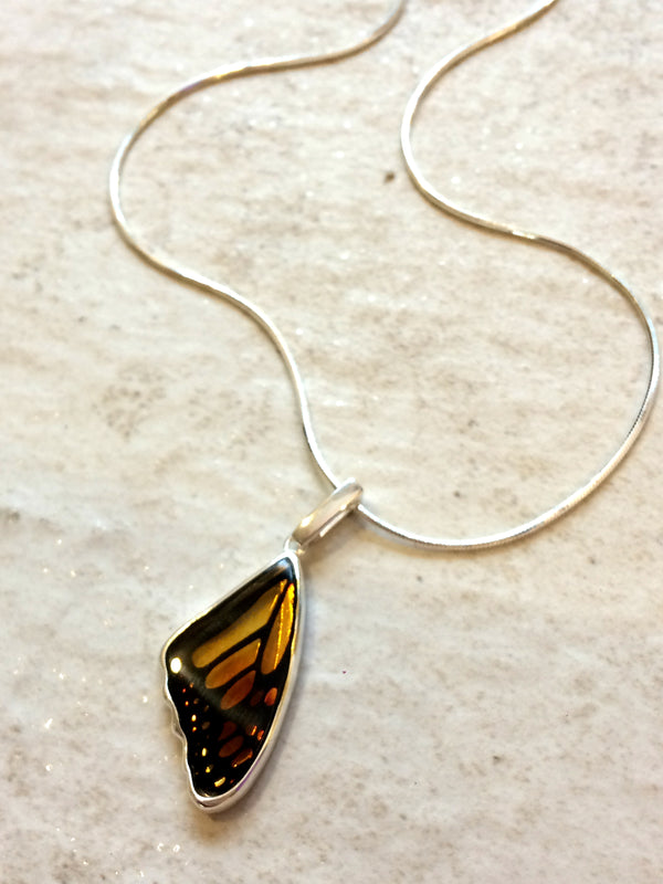 Reverse Carved Amber Butterfly Wing Necklace | Sterling Silver Intaglio | Light Years