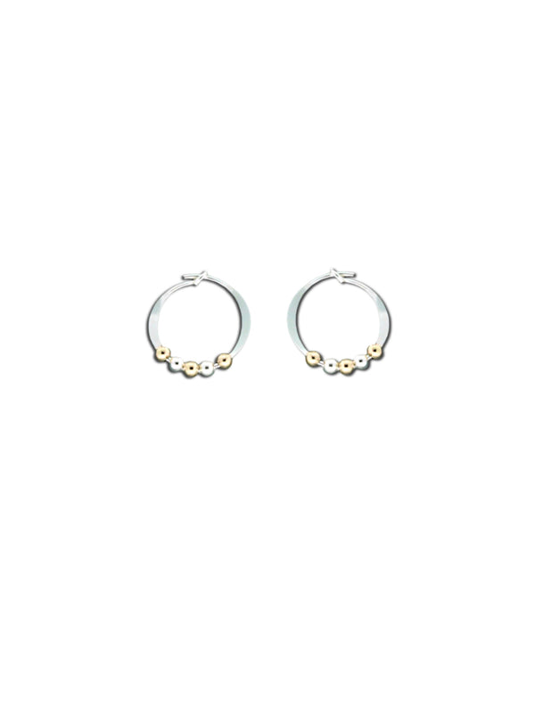 Mixed Metal Beaded Hoops | Sterling Silver Earrings | Light Years