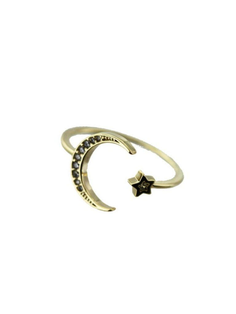 CZ Moon & Star Ring | Gold Plated Fashion | Light Years Jewelry