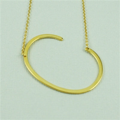 Large Sideways Initial Necklace C | Gold Plated Chain | Light Years