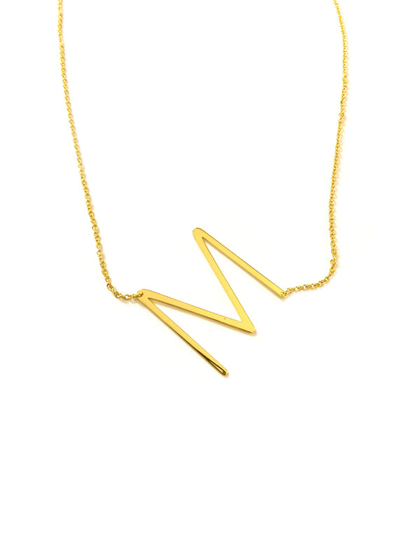Large Sideways Initial Necklace M | Gold Plated Chain | Light Years