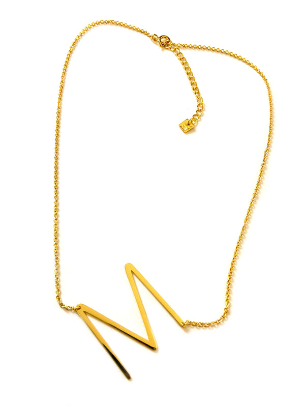 Large Sideways Initial Necklace | Gold Plated Chain | Light Years
