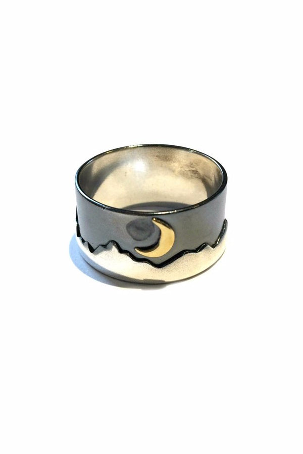 Mountain Moon Scenic Band | Sterling Silver Size 7 8 Ring | Light Years