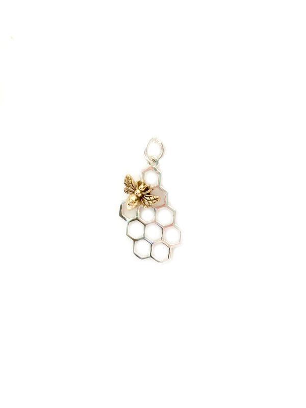 Honeycomb & Bee Necklace | Sterling Silver Chain Pendant | Light Years