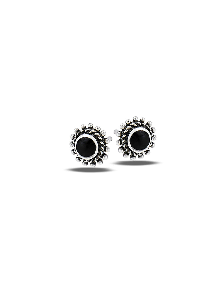 Dot Border Stone Posts | Sterling Silver Studs Earrings | Light Years