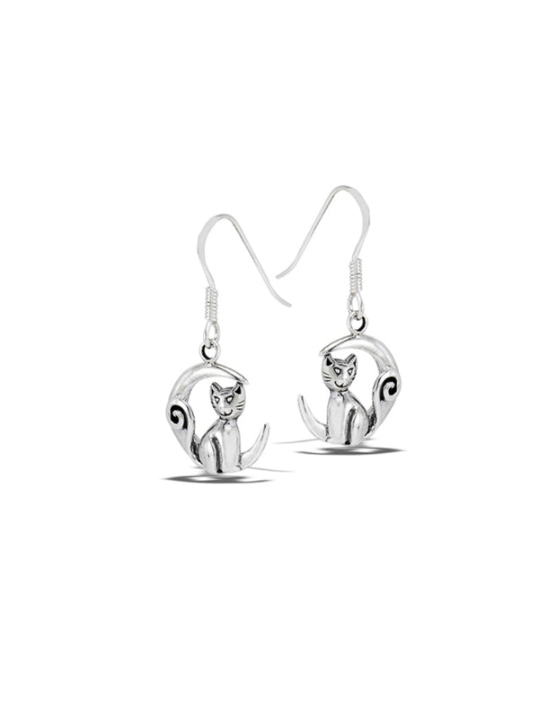 Crescent Moon Cat Earrings | Sterling Silver Dangles | Light Years