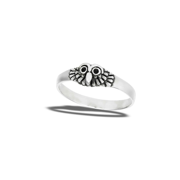 Owl Face Ring | Sterling Silver Size 5 6 7 8 9 | Light Years Jewelry