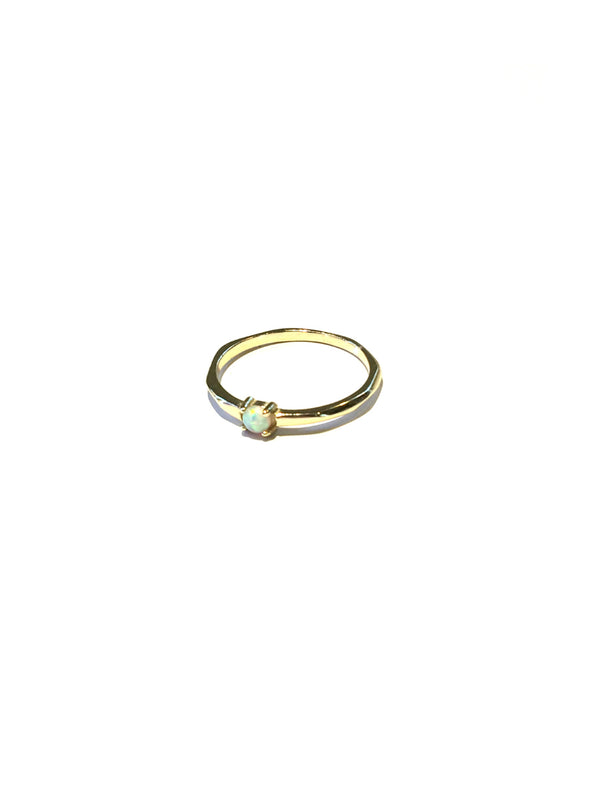 Simple White Opal Ring | Gold Vermeil Size 5 6 7 | Light Years Jewelry