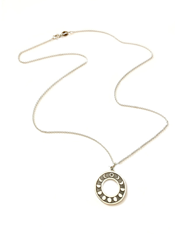 Moon Phase Ring Necklace | Sterling Silver Pendant Chain | Light Years