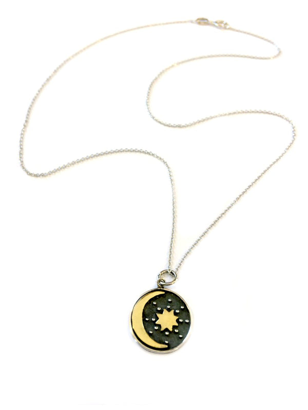 Mixed Metal Moon & Star Necklace | Bronze Sterling Silver | Light Years